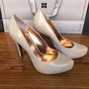 "BCBG faux beige snake skin with 5"" heels"